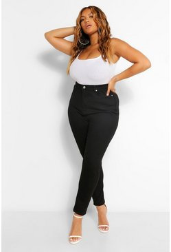 Black Plus Seam Front Shaper Skinny Jean