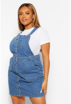 Vintage wash blue Plus Denim Pocket Pinafore Dress
