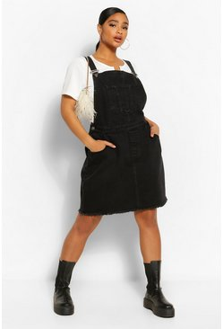 Washed black Plus Denim Pocket Fray Hem Pinafore Dress