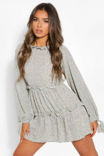 Blue Petite Floral High Neck Long Sleeve Smock Dress