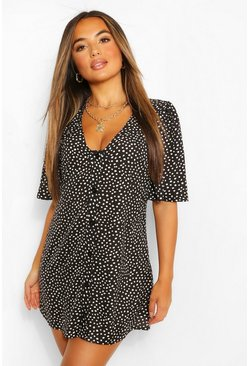 Black Petite Polka Dot Button Detail Mini Shift Dress