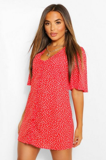 Red Petite Polka Dot Button Detail Mini Shift Dress