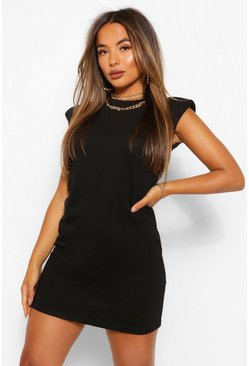 Black Petite Shoulder Pad T-Shirt Dress
