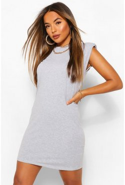 Petite Shoulder Pad T-Shirt Dress, Grey