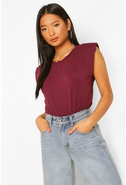 Berry Petite Shoulder Pad T-Shirt