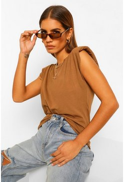 Chocolate Petite Shoulder Pad T-Shirt