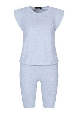 Grey Petite Shoulder Pad T-Shirt and Cycle Short Set