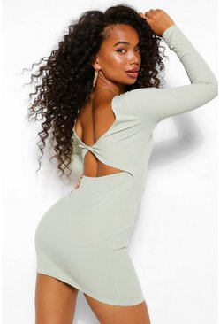 Sage green Petite Twist Back Detail Rib Mini Dress