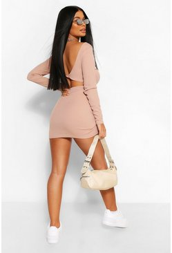 Sand beige Petite Twist Back Detail Rib Mini Dress