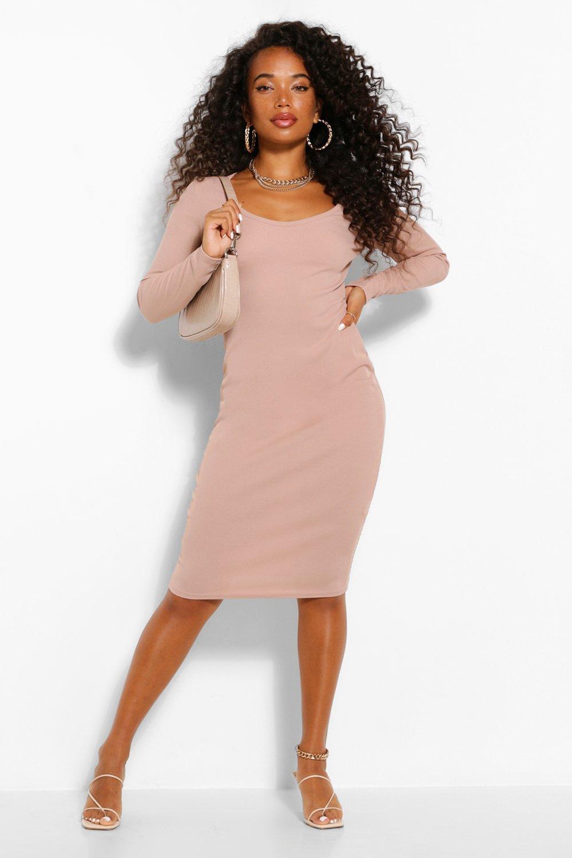 Petite Clothing Petite Scoop Neck Rib Midi Dress
