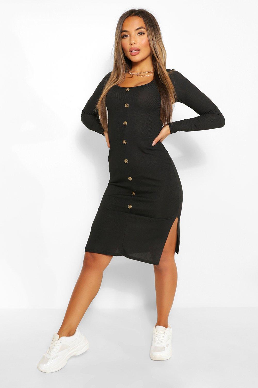 Petite Dresses Petite Button Detail V Neck Rib Midi Dress