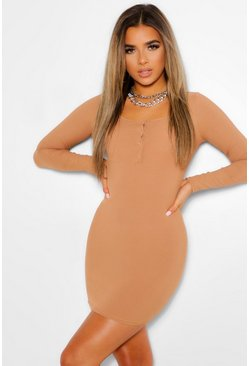 Toffee beige Petite Button Detail Rib Mini Dress