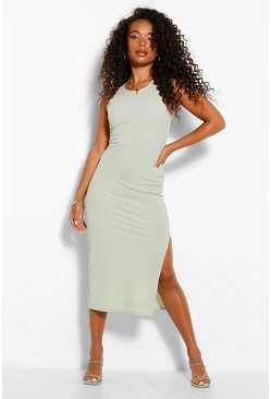 Sage green Petite High Neck Split Detail Rib Midi Dress