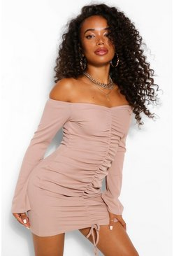 Sand beige Petite Off Shoulder Ruched Front Midi Dress