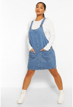 Indigo blue Plus Denim Pocket Pinafore Dress