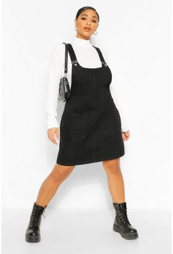 Black Plus Denim Pocket Pinafore Dress