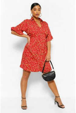 Red Plus Floral Woven Tiered Smock Dress