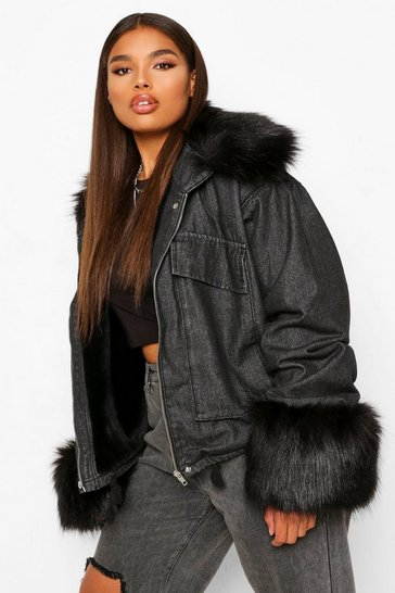 Black Plus Faux Fur Collar & Cuff Oversized Denim Jacket