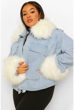 Blue Plus Faux Fur Collar And Cuff Oversized Denim Jacket