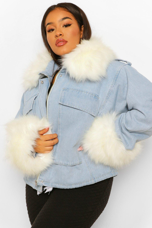 COATS & JACKETS Plus Faux Fur Collar And Cuff Oversized Denim Jacket