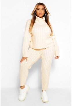 Stone beige Beige Plus Cable Knitted Sweater And Jogger Lounge Set