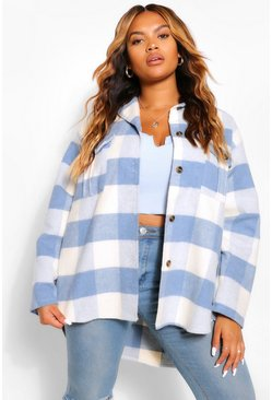 Blue Plus Check Oversized Shacket