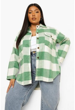Sage green Plus Check Oversized Shacket