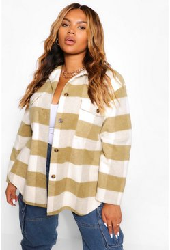 Khaki Plus Tonal Check Belted Shacket