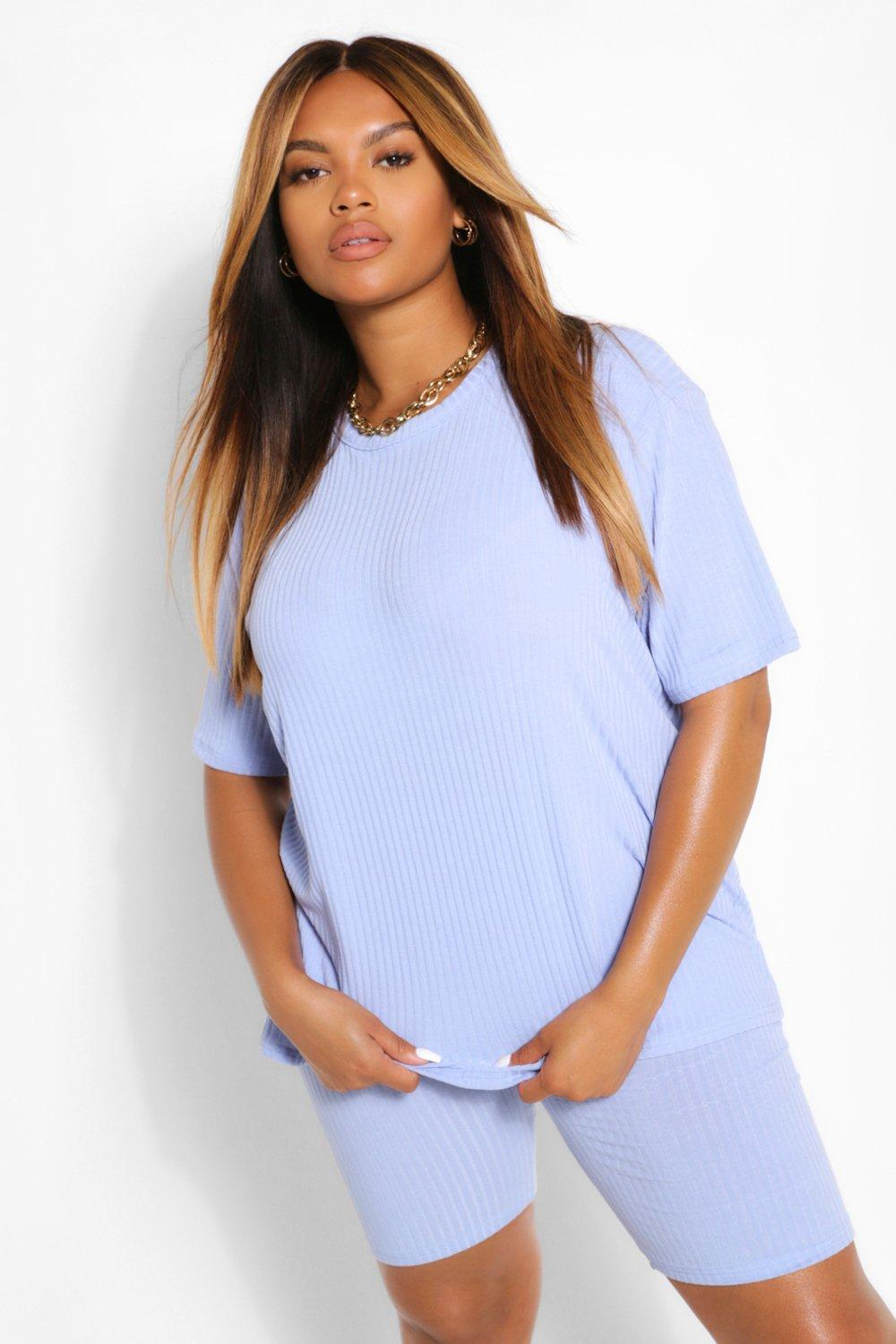 Plus Soft Rib Knit Tee and Short Co-ord 6