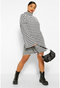 Black Plus Dogtooth  Roll Neck Flare Sleeve Jumper Dress