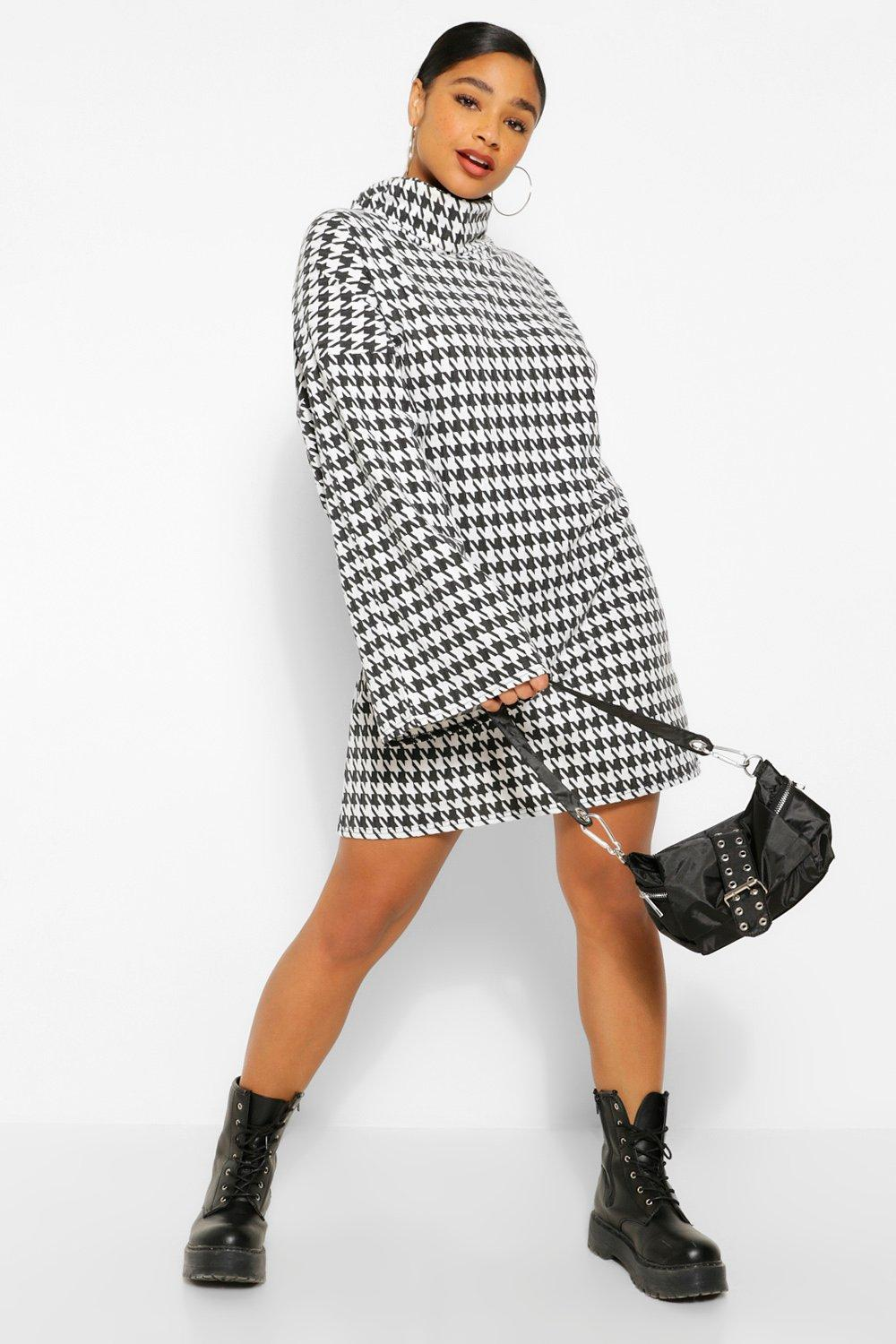 Plus Dogtooth Roll Neck Flare Sleeve Jumper Dress 3
