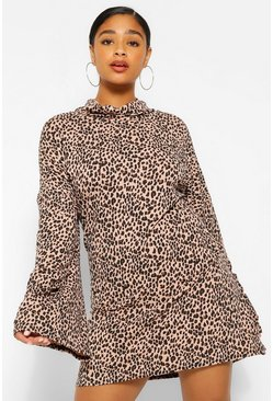 Camel Plus Leopard Roll Neck Flare Sleeve Jumper Dress
