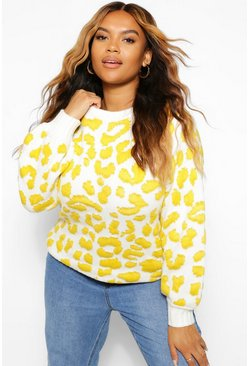 Mustard yellow Plus Knitted Leopard Jumper