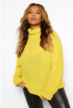 Mustard yellow Plus Knitted High Neck Jumper