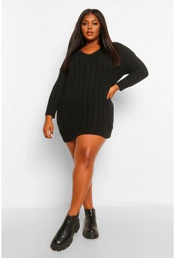 Black Plus Cable Knit Jumper Dress