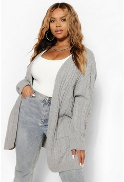Grey Plus Cable Knitted Oversized Cardigan