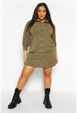 Khaki Plus Utility Pocket Front Shirt Dress