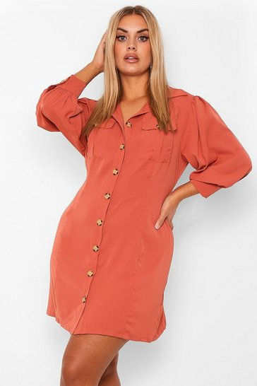 Rust orange Plus Utility Pocket Front Shirt Dress