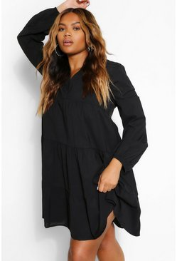 Black Plus Woven Tiered Smock Dress
