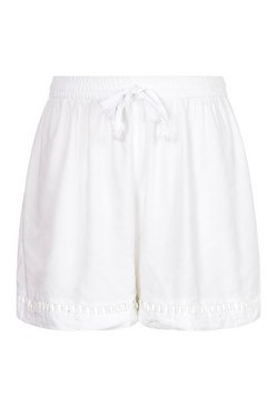 Ivory Plus Linen Crochet Trim Short