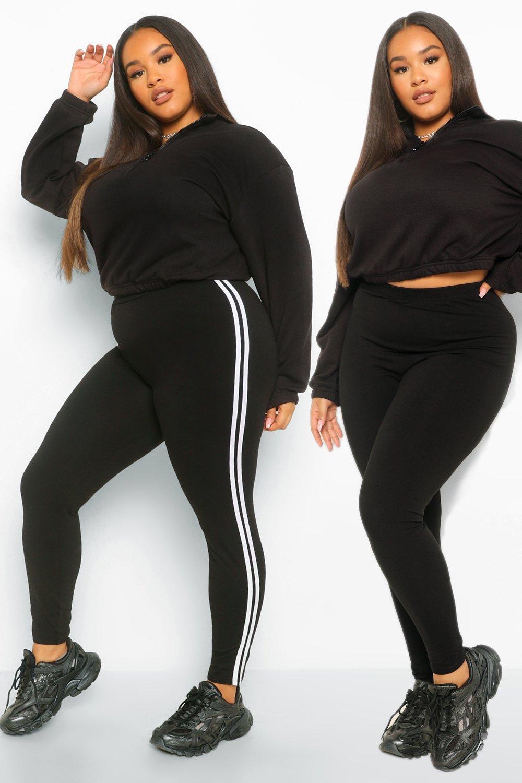 Plus Stripe and Plain Legging 2 Pack 8