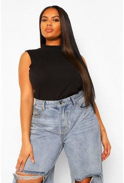 Black Plus High Neck Sleeveless Top