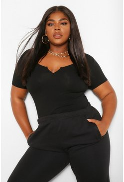 Black Plus Notch Scoop Neck Cap Sleeve Bodysuit