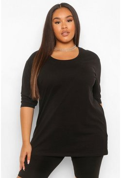 Black Plus Basic Oversized  T-Shirt Met Langere Achter Zoom En Driekwarts Mouwen