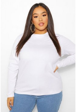 White Plus Basic Crew Neck Longsleeve T-shirt