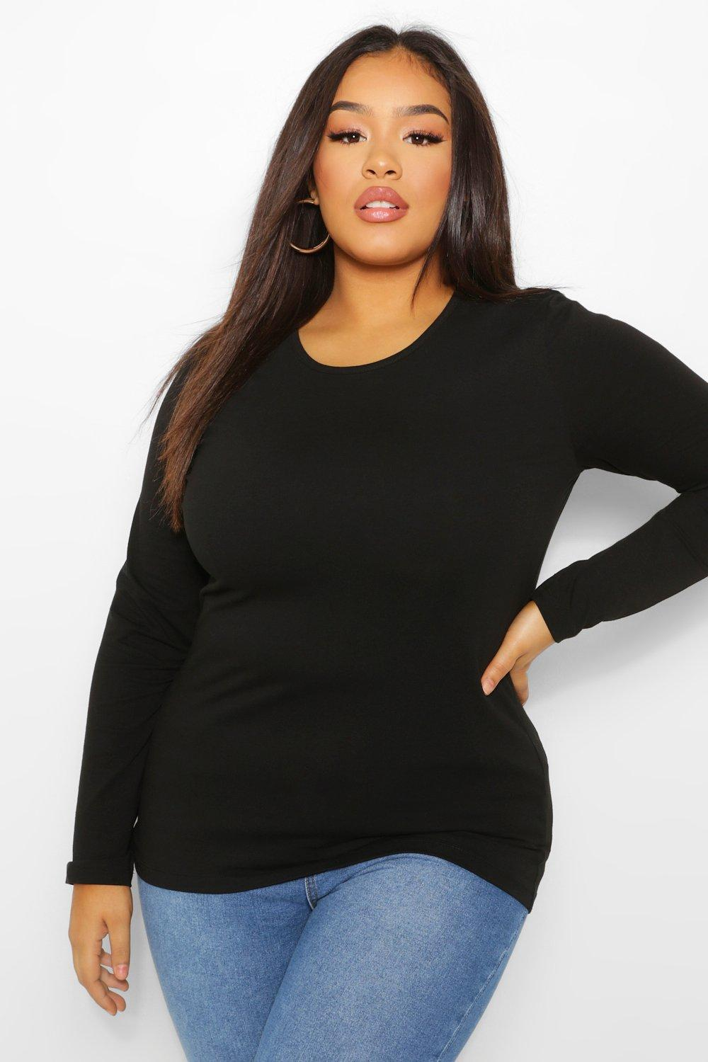 Plus Basic Scoop Neck Longsleeve T-Shirt 15