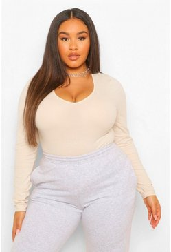 Stone beige Plus V-Neck Long Sleeve Sleeve Bodysuit