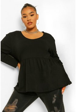 Black Plus Ruffle Sleeve V Neck Long Sleeve Smock Top