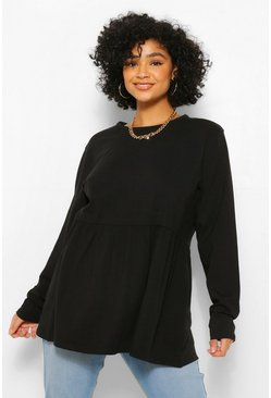 Black Plus Crew Neck Long Sleeve Sleeve Smock Top