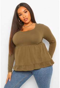 Khaki Plus Square Neck Tiered Long Sleeve Smock Top